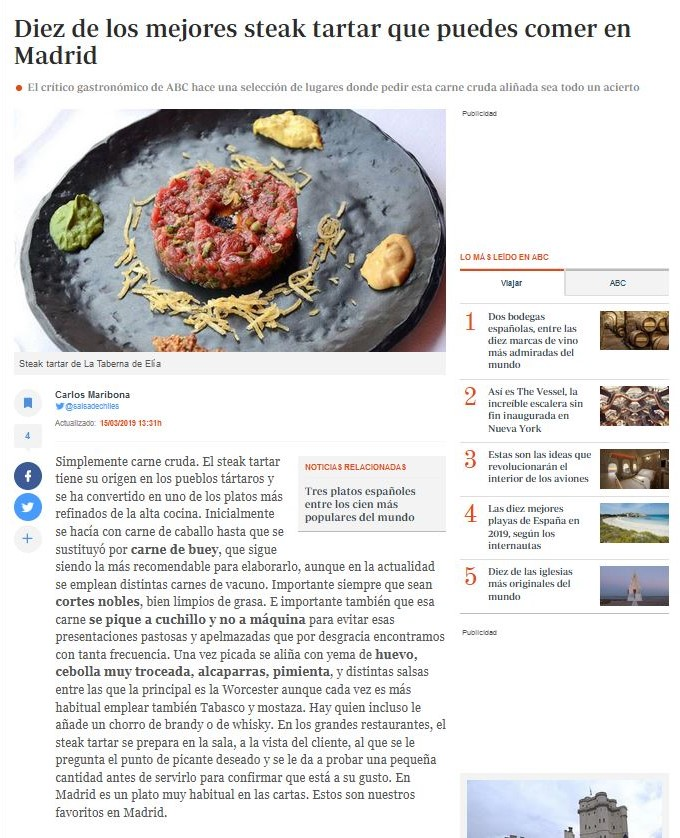 Diez de los mejores steak tartar que puedes comer en Madrid